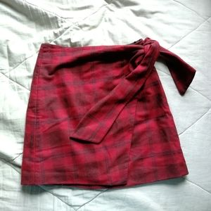 WILFRED New Wrap Front Skirt Red Plaid 00 Aritzia